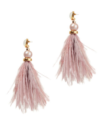 Parker Feather Earrings, PINK, hi-res