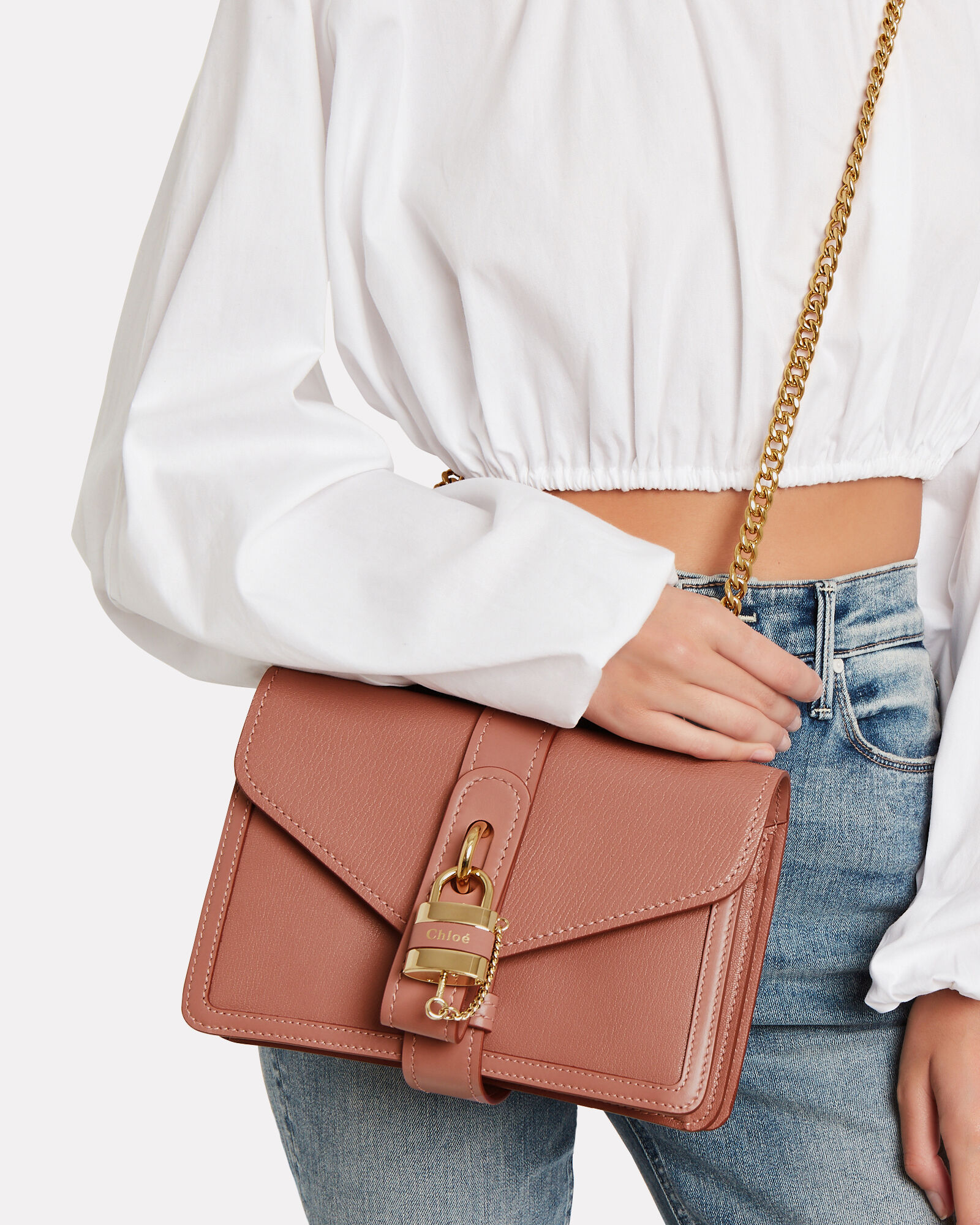 Chain Strap Leather Bag, PINK, hi-res