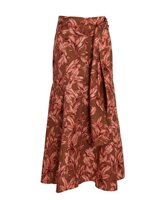 Sienna Tie-Waist Printed Midi Skirt, BROWN, hi-res