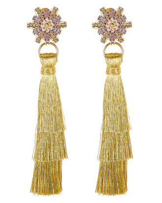 Waterfall Fringe Earrings, PINK/GOLD, hi-res