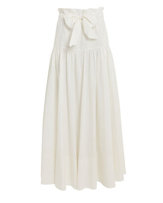 Mary Poplin Tie Waist Skirt, WHITE, hi-res