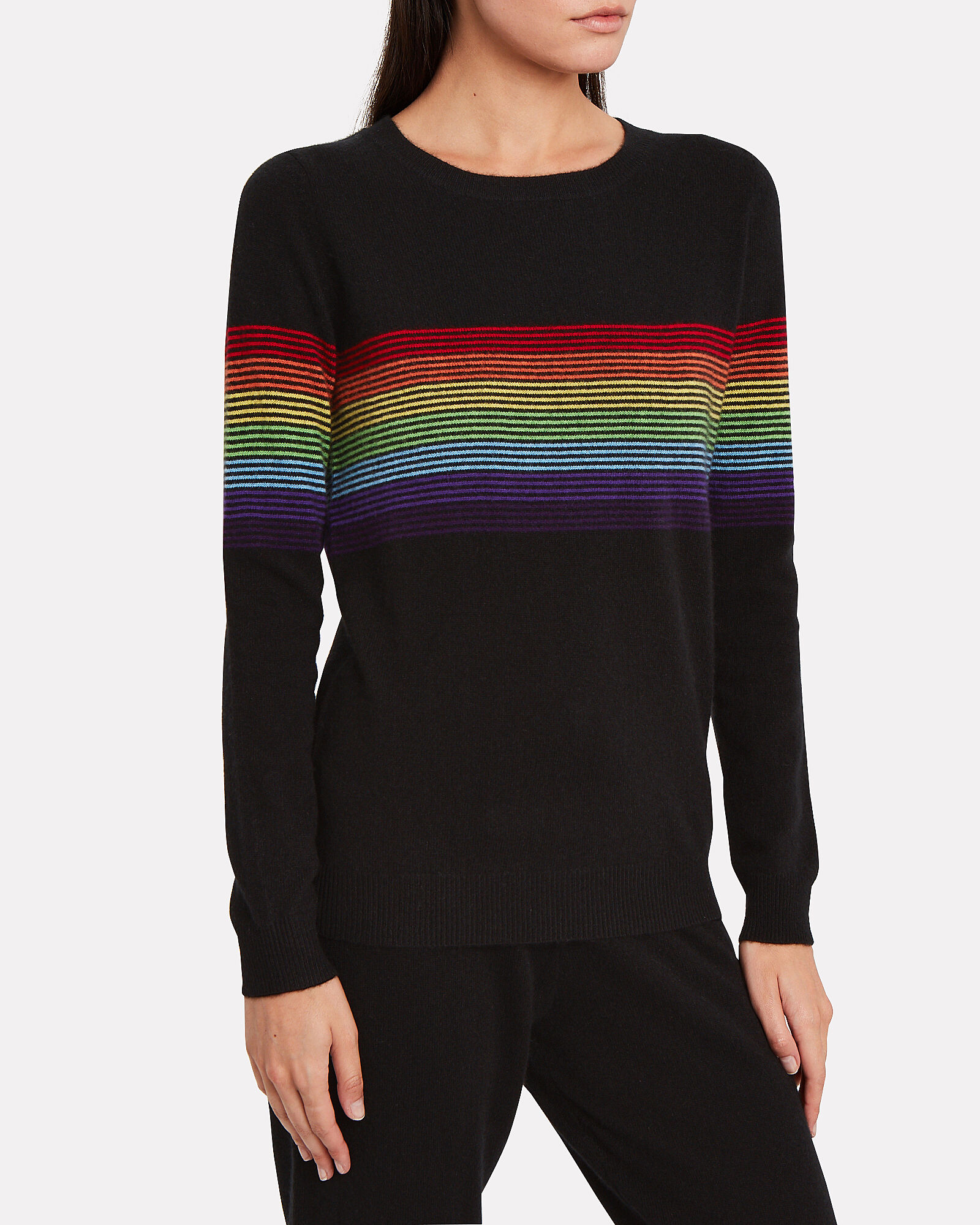 Humbert Rainbow Striped Cashmere Sweater, BLACK, hi-res