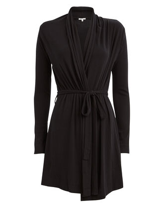Natalie Ribbed Jersey Robe, BLACK, hi-res