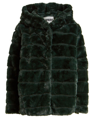 Goldie Hooded Faux Fur Jacket, FOREST GREEN, hi-res