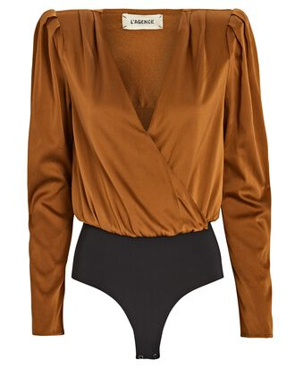 Brenda Silk Puff Sleeve Bodysuit, BROWN, hi-res