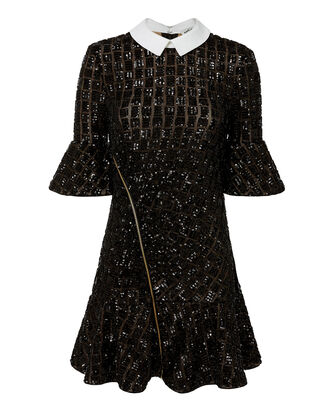 Sequin Collared Mini Dress, BLACK, hi-res