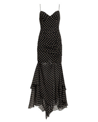 Polka Dot Ruched Maxi Dress, BLACK/BEIGE, hi-res