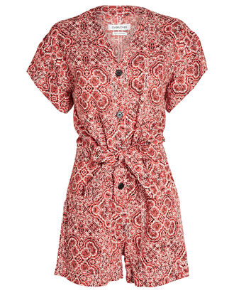 Donna Paisley Linen Romper, RED/WHITE, hi-res