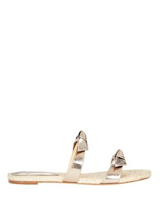 Clarita Leather Slide Sandals, GOLD, hi-res