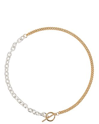 Tokyo Chain-Link Necklace, SILVER/GOLD, hi-res
