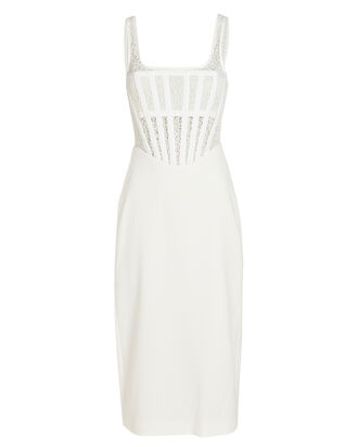 Lace Corset Midi Dress, IVORY, hi-res