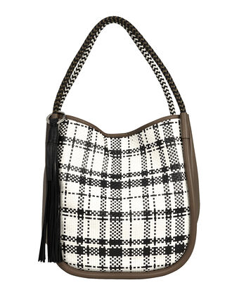 Large Plaid & Leather Tote, BLACK/WHITE/KHAKI, hi-res
