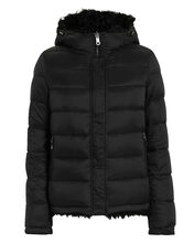 Reversible Shearling Puffer, BLACK, hi-res