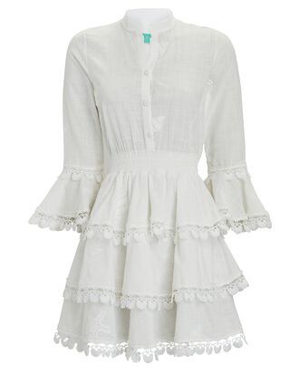 Calamaro Cotton-Blend Mini Dress, WHITE, hi-res