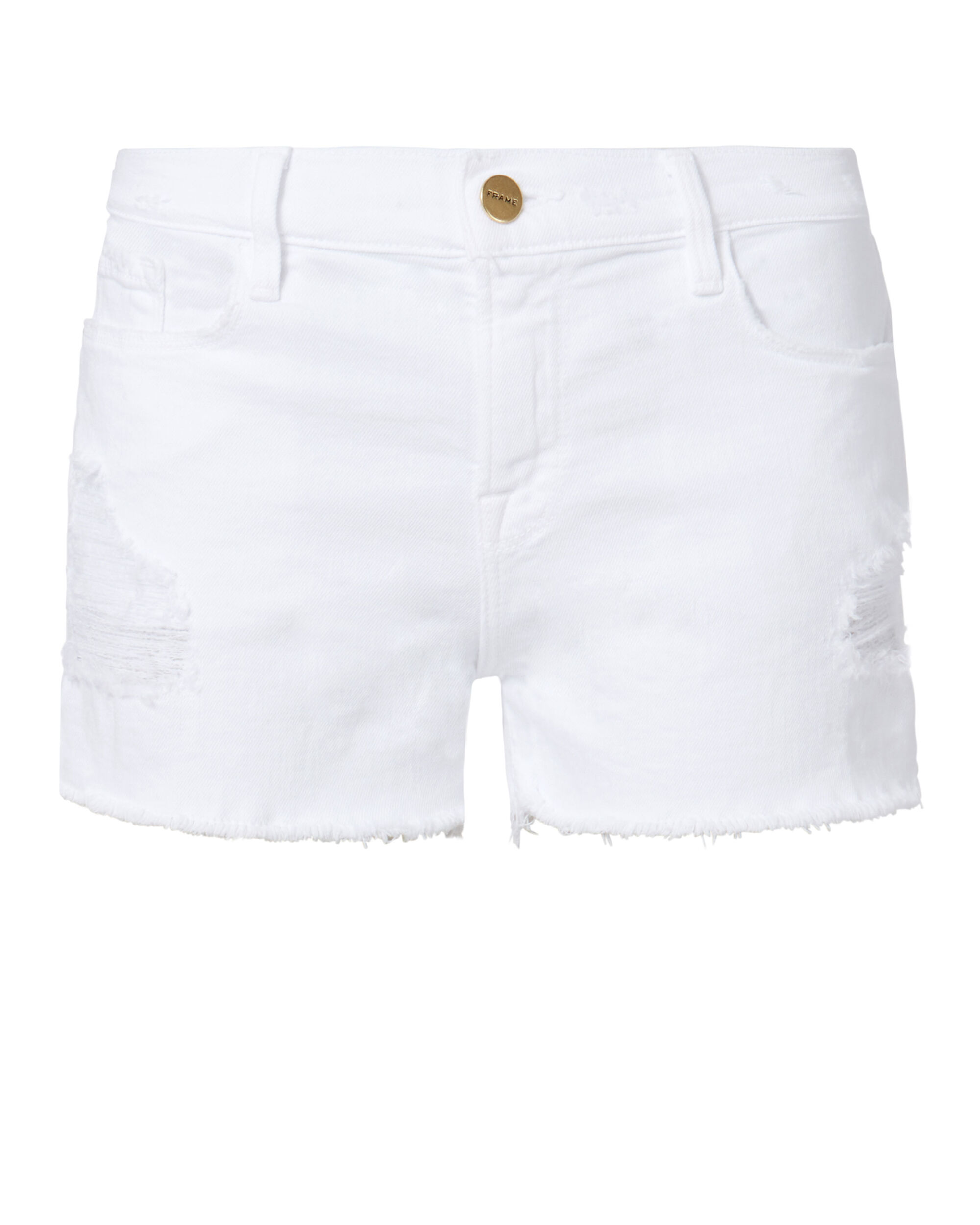 Le Cutoff White Shorts, WHITE, hi-res