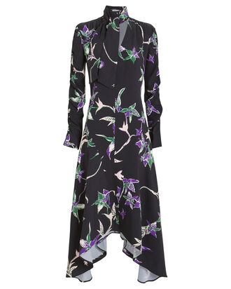 Martha Crepe Long Sleeve Dress, BLACK/ORCHID, hi-res