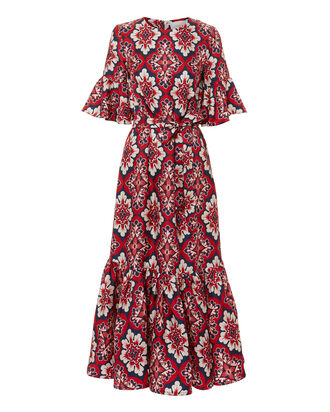 Curly Swingy Printed Dress, MULTI, hi-res