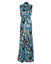 Fleur Printed Satin Dress, AZURE, hi-res