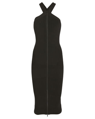 Tape Bodycon Halter Dress, BLACK, hi-res