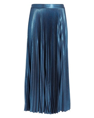 Bobby Blue Metallic Pleated Skirt, DARK BLUE, hi-res