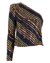 Striped Sequin Asymmetric Top, BLACK/RAINBOW, hi-res