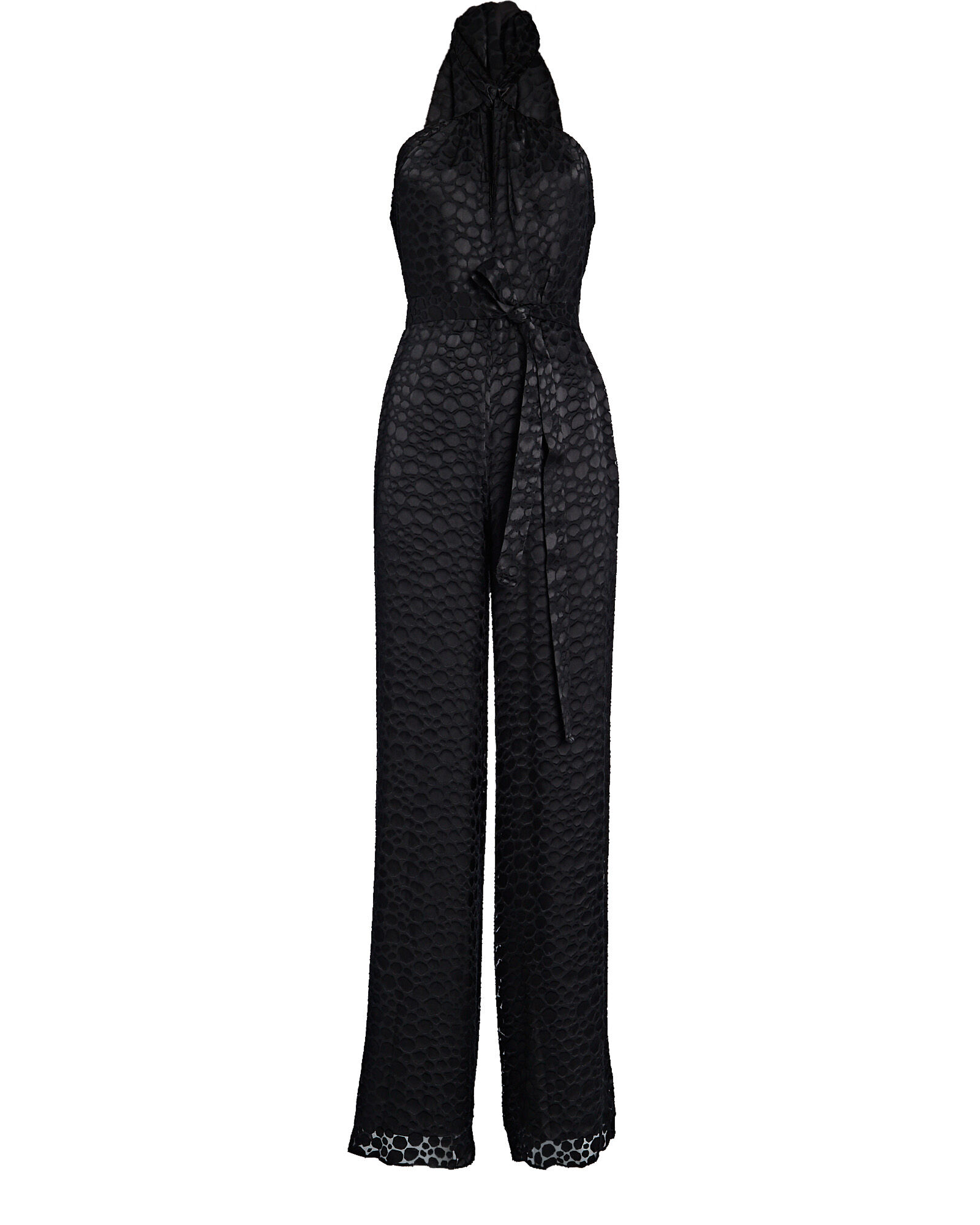 Paolina Burnout Jacquard Jumpsuit, BLACK, hi-res