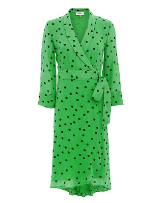 Green Polka Dot Wrap Dress, GREEN, hi-res