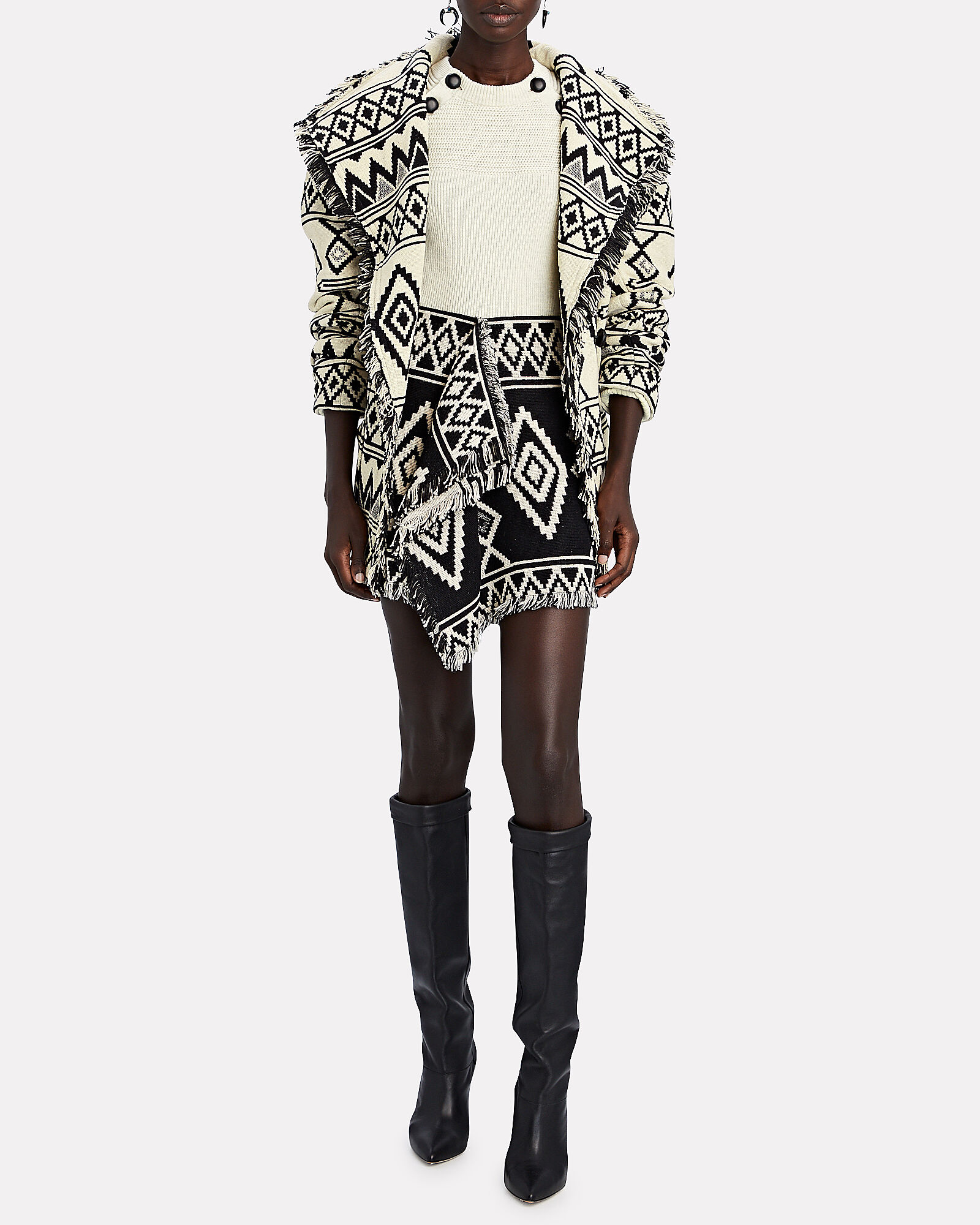 Josiali Fringed Jacquard Cotton Jacket, MULTI, hi-res
