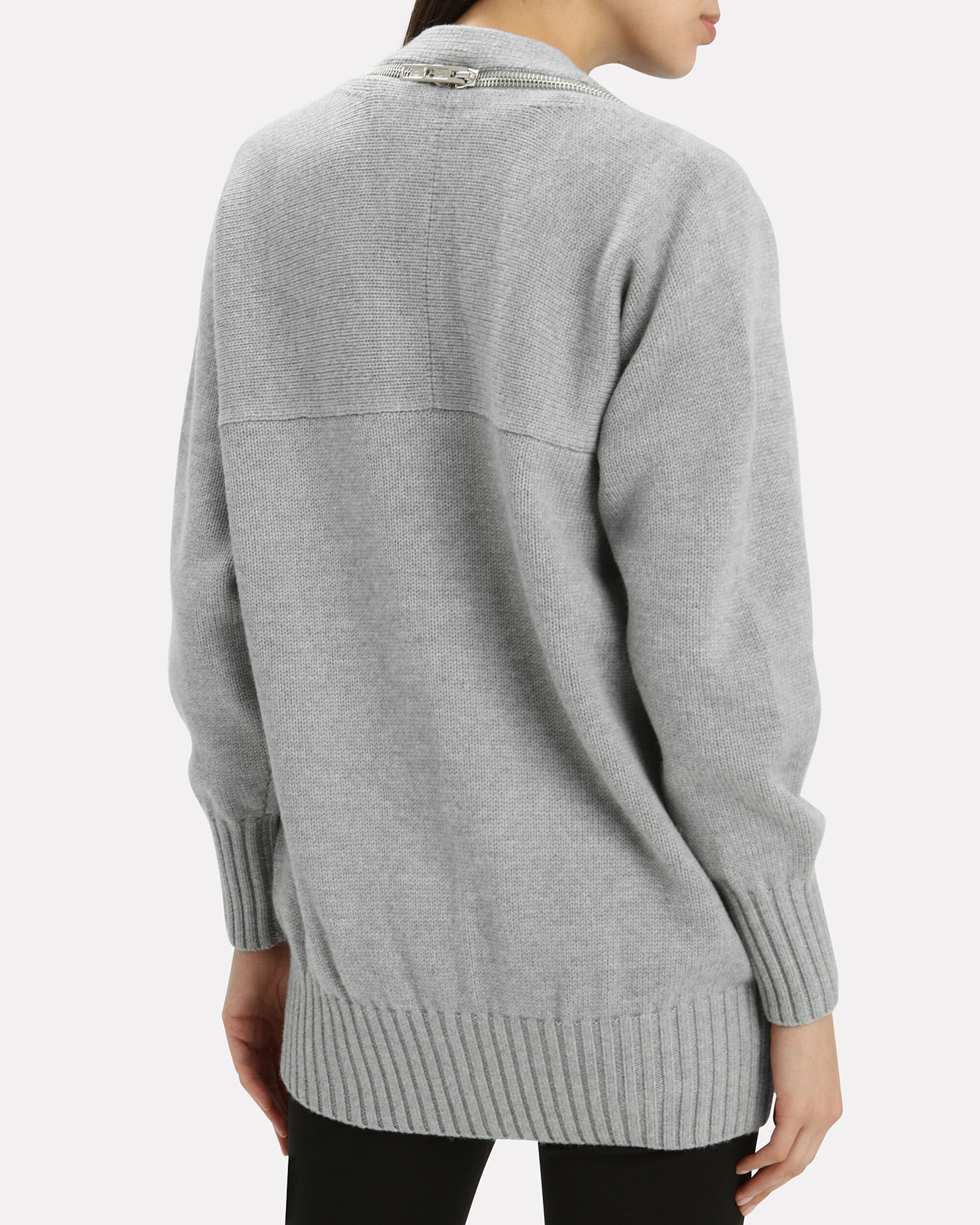 Zip Shoulder Cardigan, GREY, hi-res