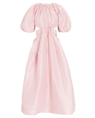 Mimosa Puff Sleeve Midi Dress, PINK, hi-res