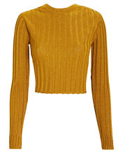 Metallic Rib Knit Crop Top, MUSTARD, hi-res