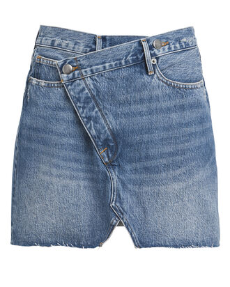 Ophelia Overlap Denim Mini Skirt, MEDIUM BLUE DENIM, hi-res
