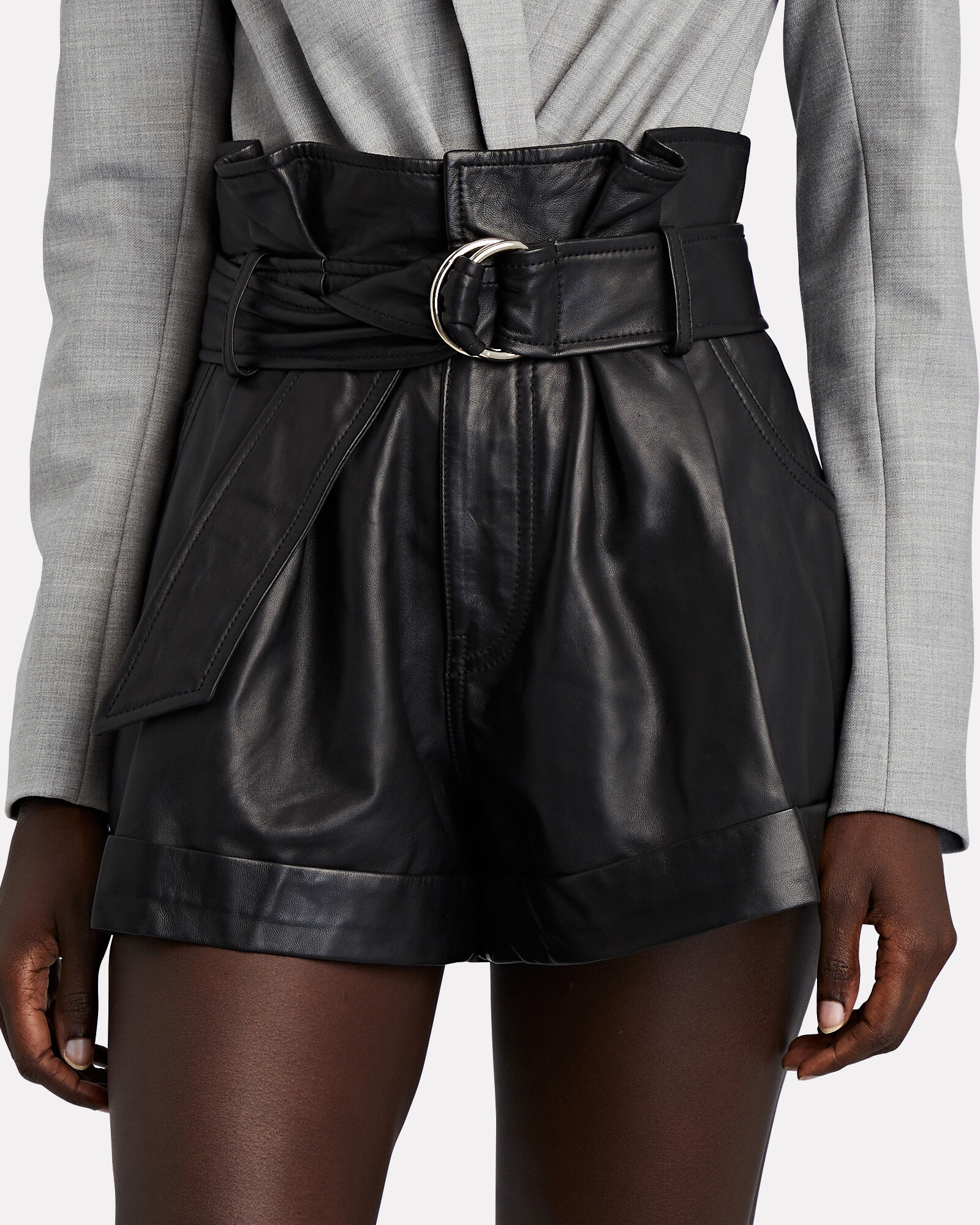 Dixon Leather Paperbag Shorts, BLACK, hi-res