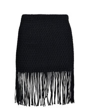 Caribe Fringe Mini Skirt, BLACK, hi-res