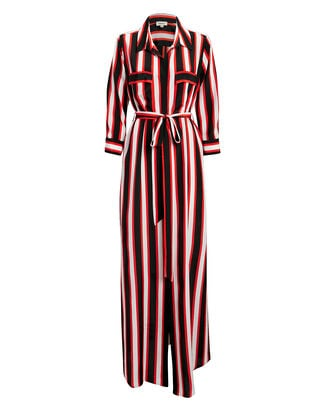 Cameron Striped Shirtdress, BLACK/WHITE/RED, hi-res