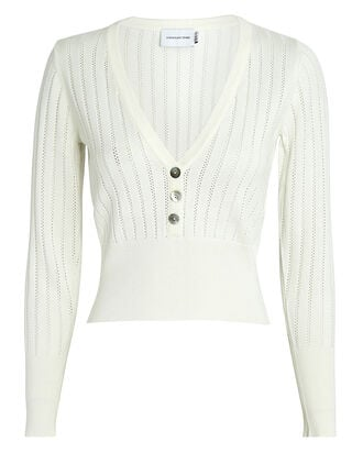 Solace Pointelle Knit Henley Top, WHITE, hi-res