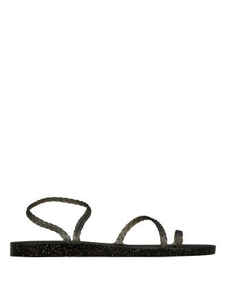 Eleftheria Braided Leather Sandals, BLACK, hi-res