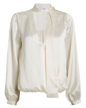 Cadence Silk Charmeuse Tie Neck Blouse, WHITE, hi-res