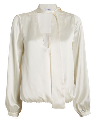 Cadence Silk Charmeuse Tie Neck Blouse, , hi-res