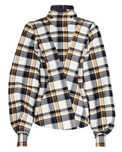 Plaid Flannel High Neck Top, NAVY, hi-res