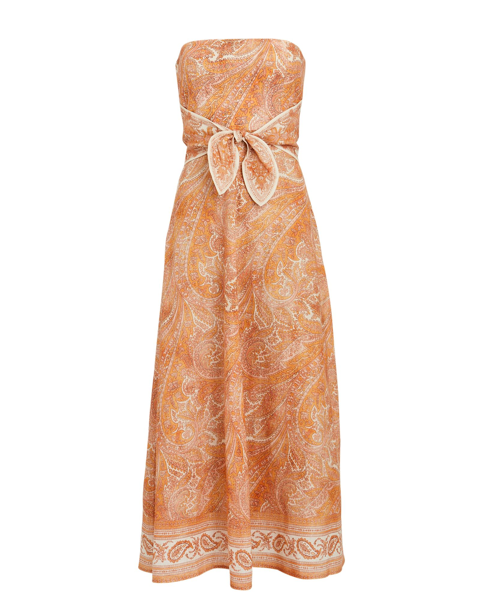 Brighton Strapless Paisley Linen Dress, ORANGE, hi-res