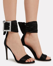 Yasmine Crystal Buckle Sandals, BLACK, hi-res