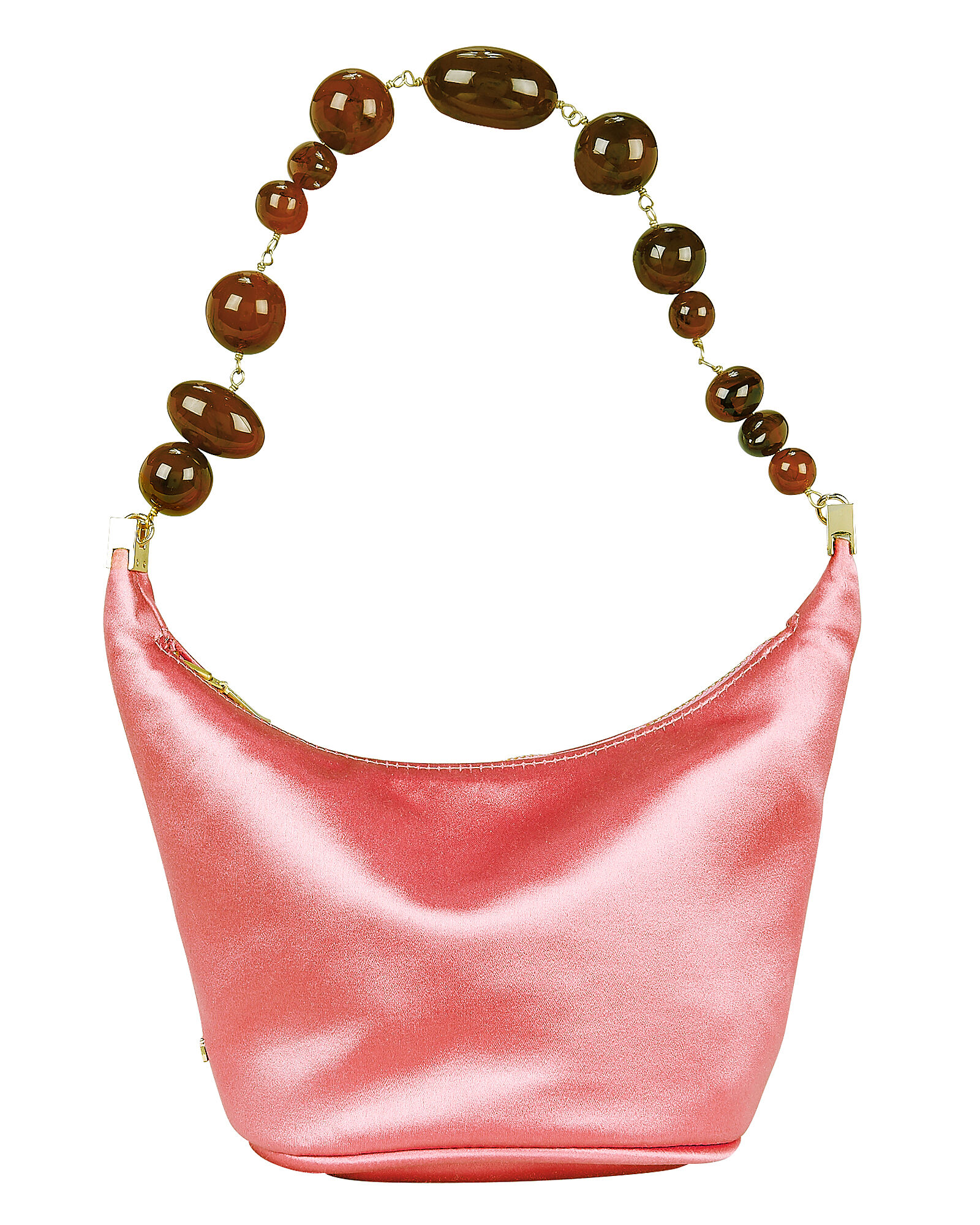 Gia Beaded Top Handle Satin Clutch, PINK, hi-res