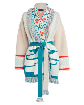 Glacial Daylight Cashmere Cardigan, TURQUOISE/BEIGE, hi-res