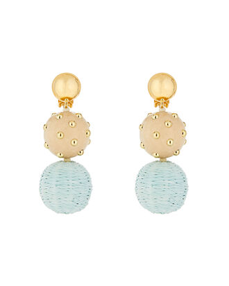 Raffia & Wood Ball Drop Earrings, BLUE/BROWN, hi-res