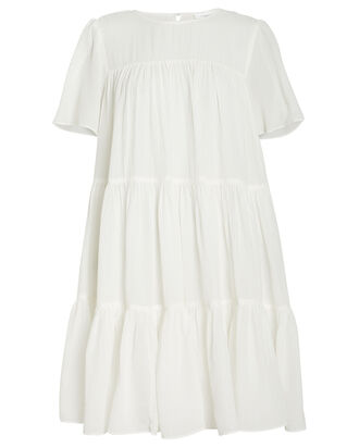 Tabitha Seersucker Babydoll Dress, WHITE, hi-res