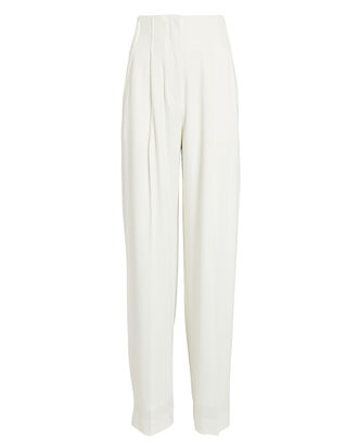 Textured Crepe High-Waist Pants, IVORY, hi-res