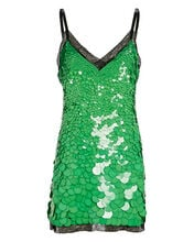 Sequined Mini Slip Dress, GREEN, hi-res