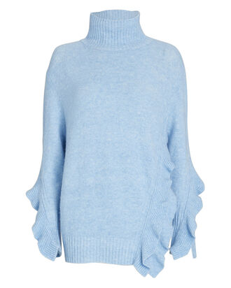 Ruffled Turtleneck Sweater, LIGHT BLUE, hi-res