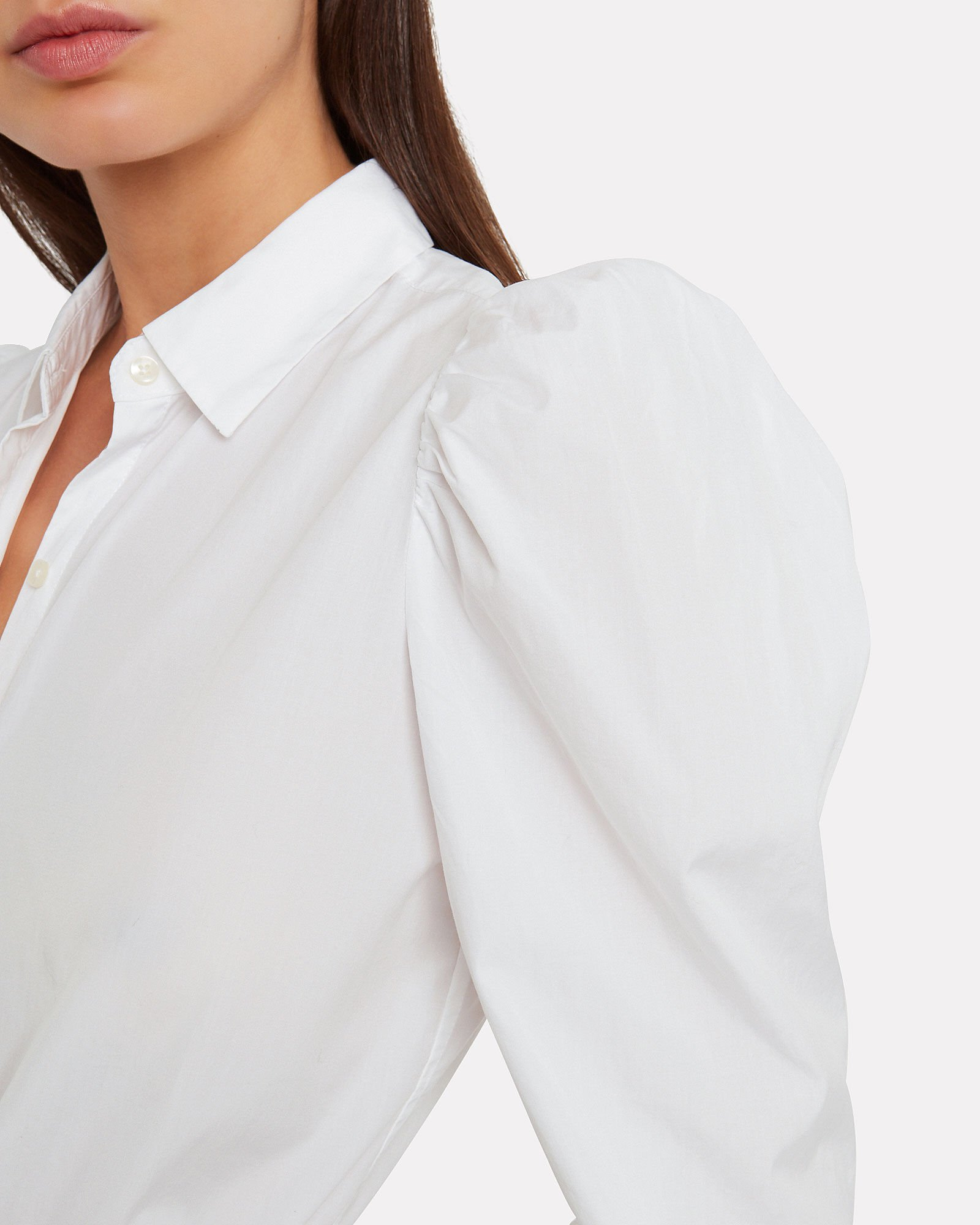 Puff Sleeve Poplin Shirt, WHITE, hi-res